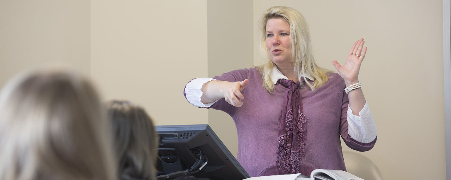 Kent State Ashtabula Chemistry Professor Ann Abraham instructs during class