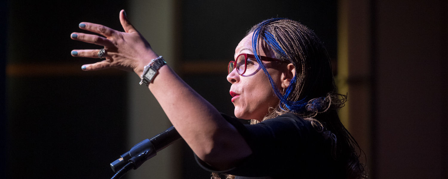 Melissa Harris-Perry, Ph.D., delivers her keynote address from the podium in the Kent Student Center Ballroom.