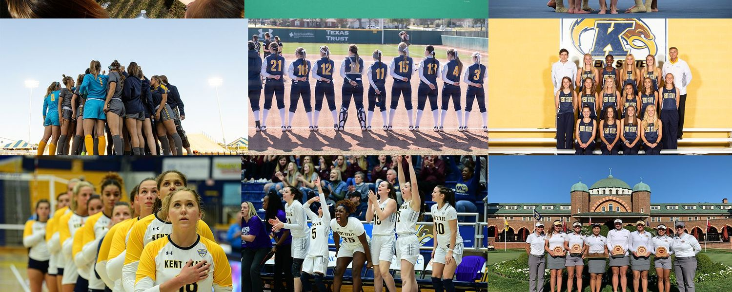 Photo collage of Kent State women's teams