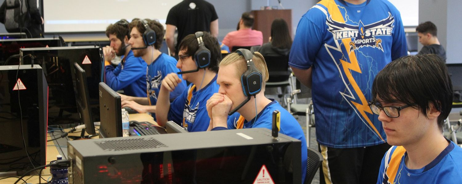 Members of the Kent State University Esports team compete in the finals of a League of Legends tournament held at Kent State.