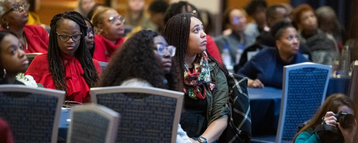 Kent State students, faculty and staff listen to keynote speaker Melissa Harris-Perry, Ph.D., during the university's annual Martin Luther King Jr. Celebration.