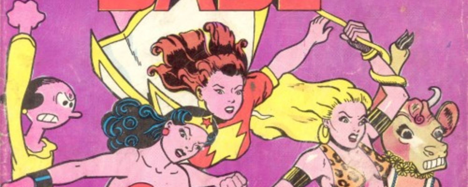 """Pictured is the cover of the first print run of It Ain't Me, Babe (1970), the first comic book produced entirely by women. It was co-produced by Trina Robbins and Barbara """"Willy"""" Mendes, and published by Ron Turner at Last Gasp comics."""