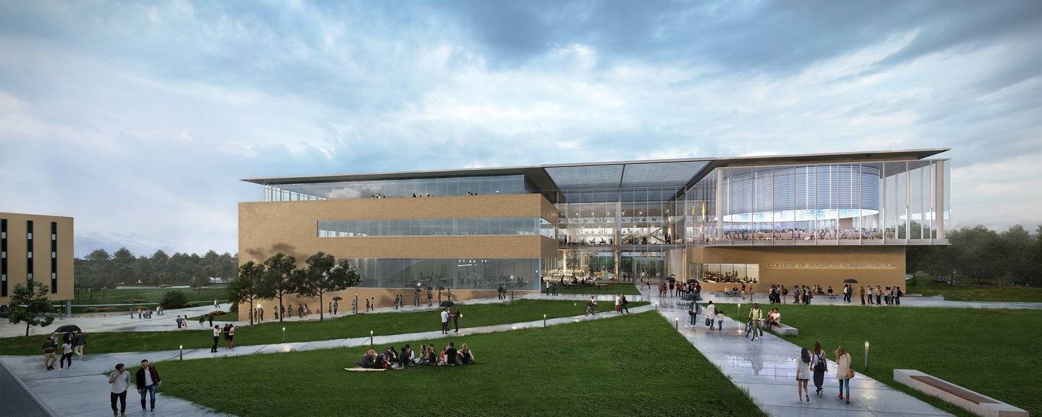 Shown is the exterior rendering of the proposed College of Business Administration by Signet Real Estate Group.