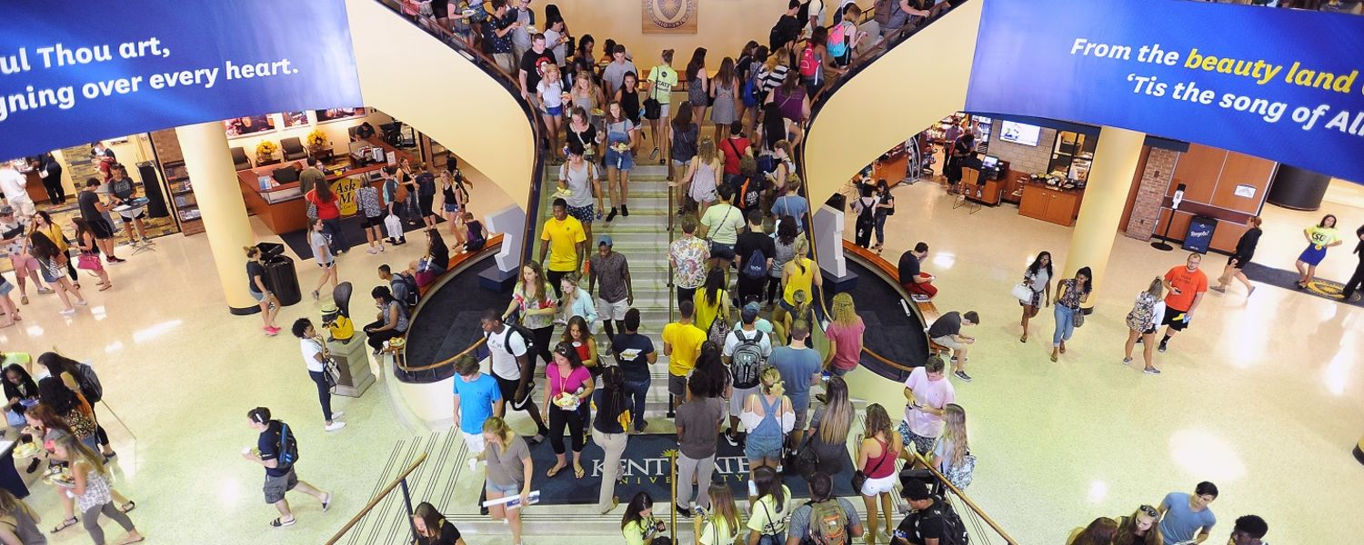 Kent State University freshmen walk through the Kent Student Center during 2016 Welcome Weekend. Kent State continues to set records as it begins a new academic year.