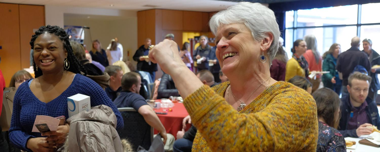 Kent State University employees smile and enjoy themselves during the university's 2019 Employee Appreciation Day event held in the Kent Student Center Ballroom.