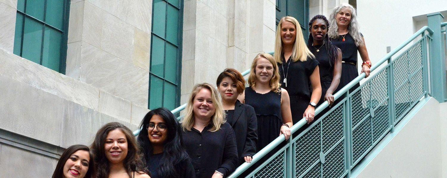 Catherine Leslie, Ph.D. (pictured far right), graduate studies coordinator of Kent State University's Fashion School, stands with graduate students of the 2018-19 Master of Fashion Industry Studies cohort.