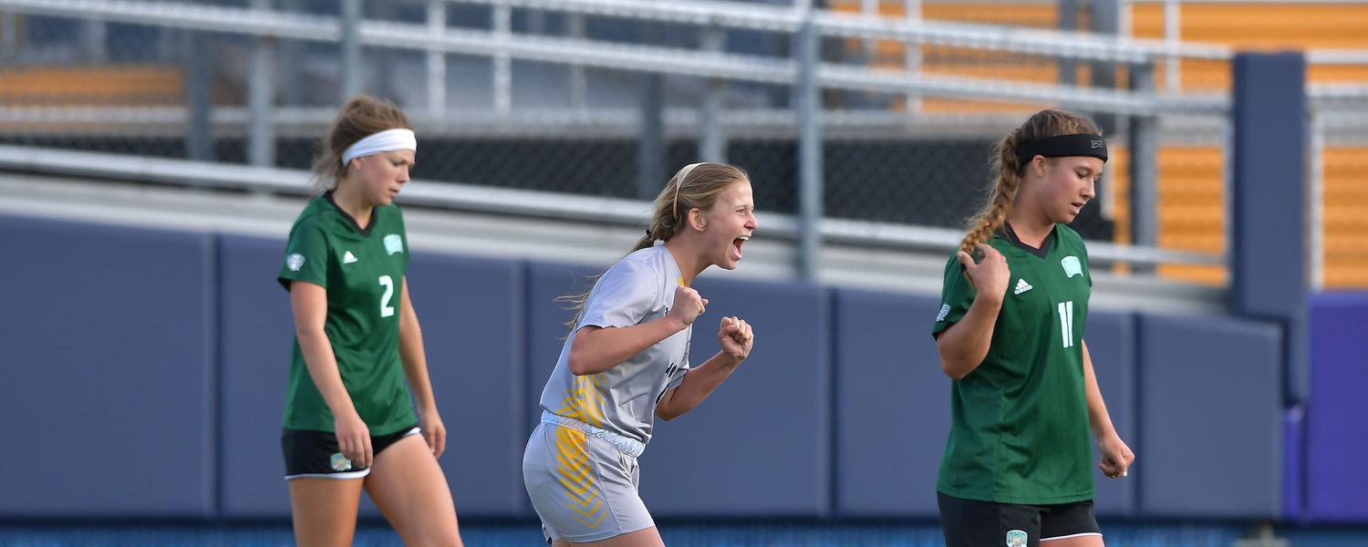Kent State's Kristen Brots celebrates after scoring a goal in Kent State's 2-1 win over Ohio on Oct. 26, securing the MAC Regular Season Championship.