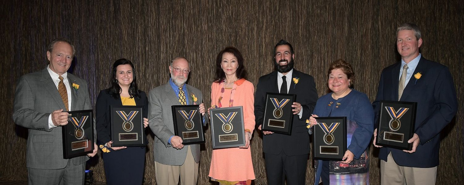 Recipients of Kent State University's 2017 Alumni Awards are (left to right) Gary O'Hara, Marisa Stephens, Richard Benz, Dr. Jennie S. Hwang, Dr. Anthony Limperos, Elizabeth Bartz and Paul Beatty.