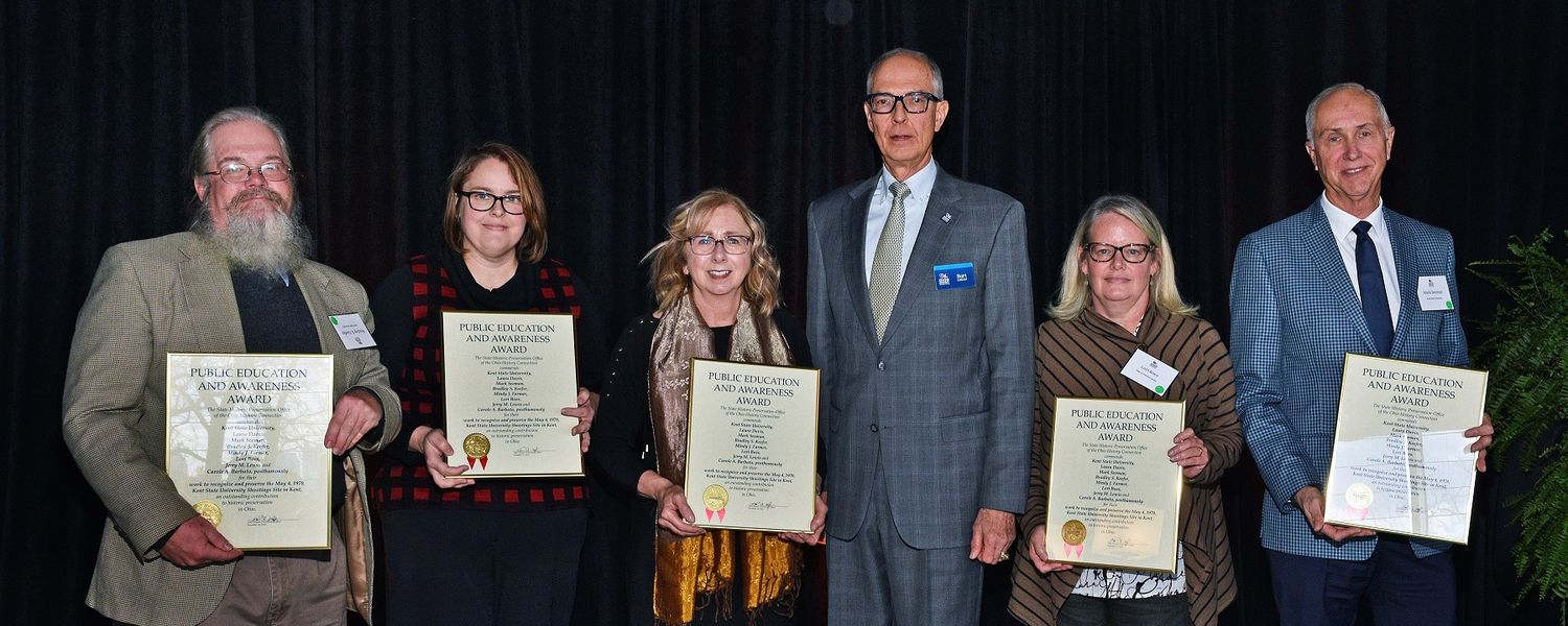 Pictured (left to right) are Bradley Keefer, Mindy Farmer, Laura Davis, Burt Logan of the Ohio History Connection, Lori Boes and Mark Seeman. (Photo courtesy of the Ohio History Connection)