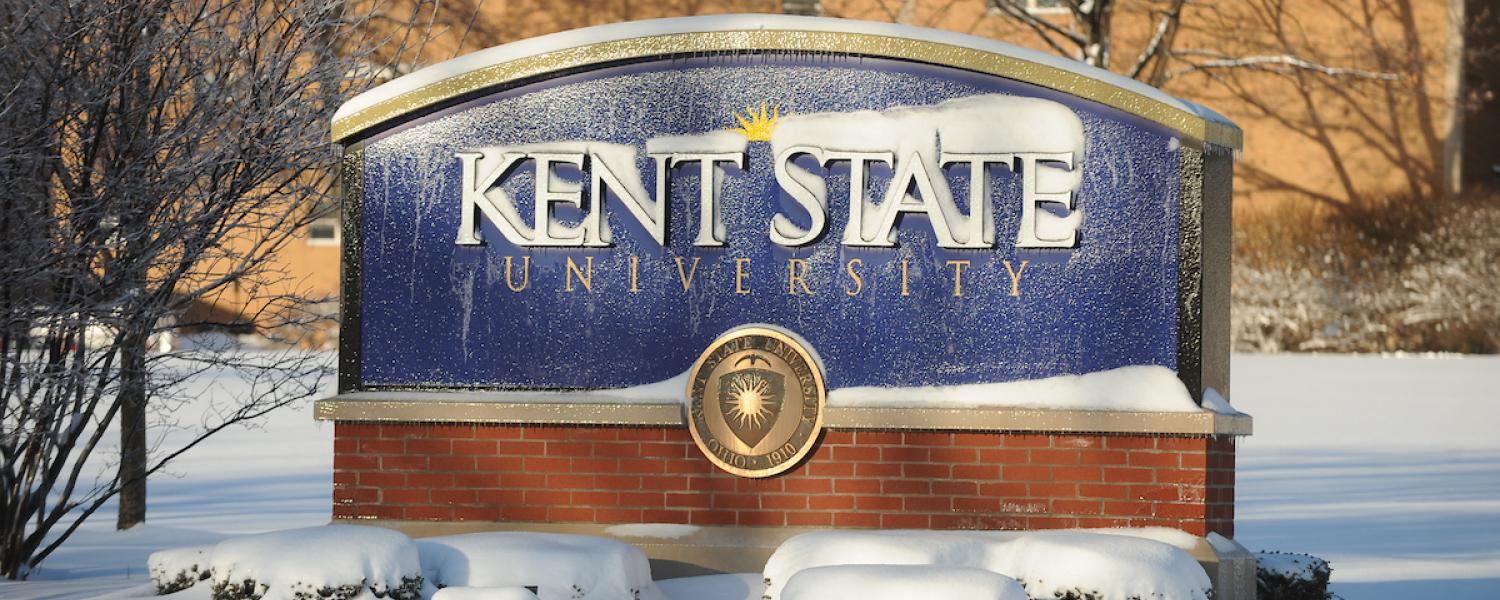 Photo of Kent State sign covered with ice and snow