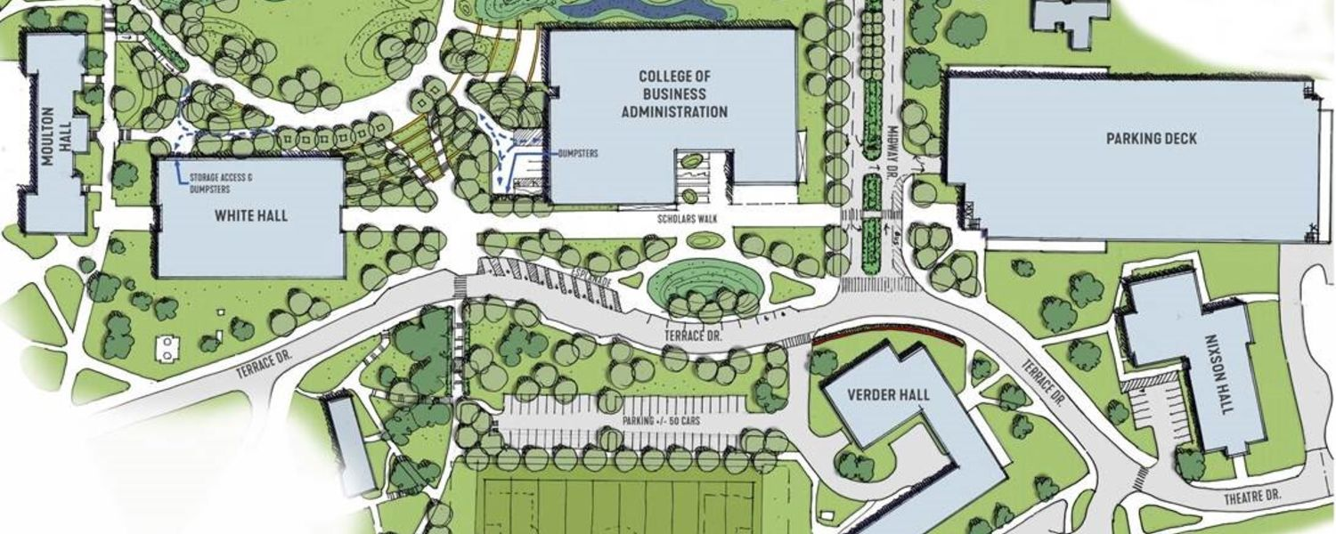 The rendering shows the location of the new parking deck and the realignment of Terrace Drive at Kent State University.