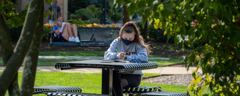 Kent State student doing homework