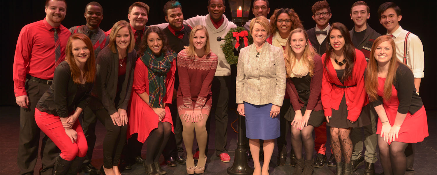 Kent State University President Beverly Warren offers a holiday message to the Kent State community with the Kent Clarks.