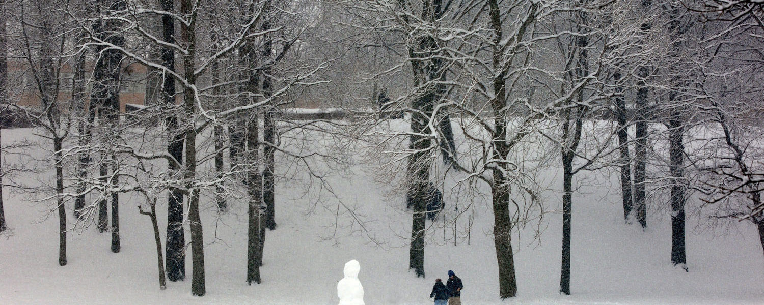 Kent State students work on a snowman during a wintry afternoon on campus.
