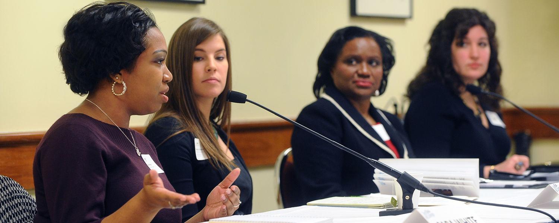 Cara White (far left), an academic program officer at Kent State's Duel Enrollment Programs, offers input regarding dual enrollment, Upward Bound and Post-Secondary Enrollment Options Programs.