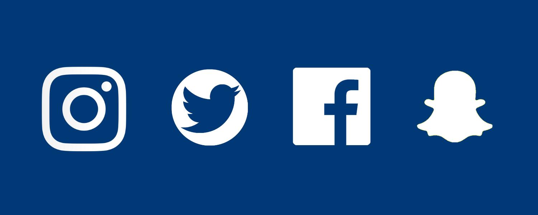 Instgram, Twiter, Facebook and Snapchat logos