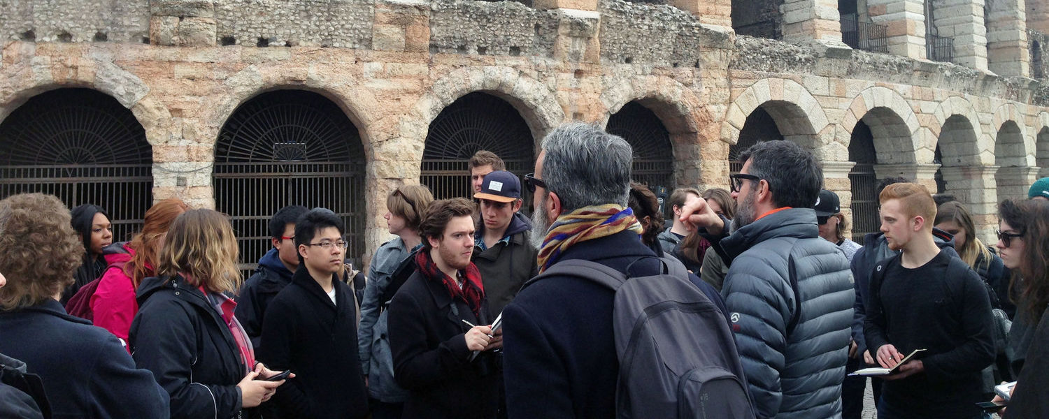 Kent State architecture students studying in Italy visit Verona and Venice with instructors Eugenio Pandolfini and Guido Incerti.