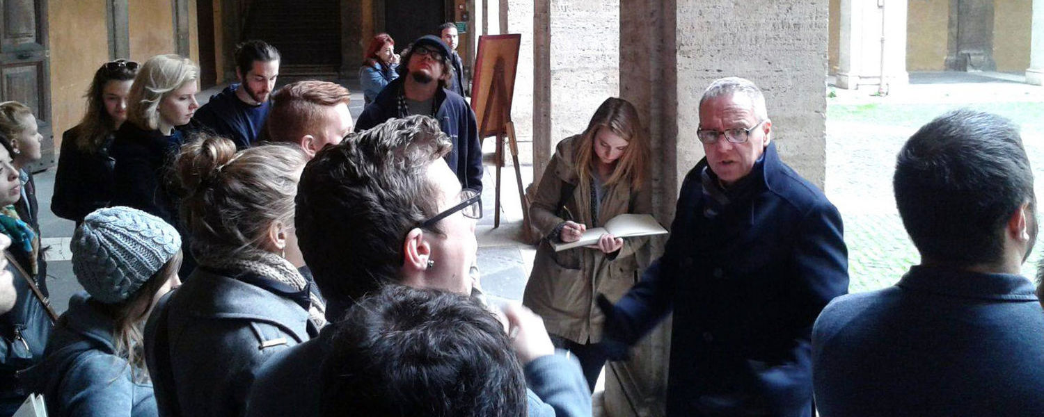 During a field trip to Rome, Kent State architecture students take a Baroque tour with Paul Gwynne.