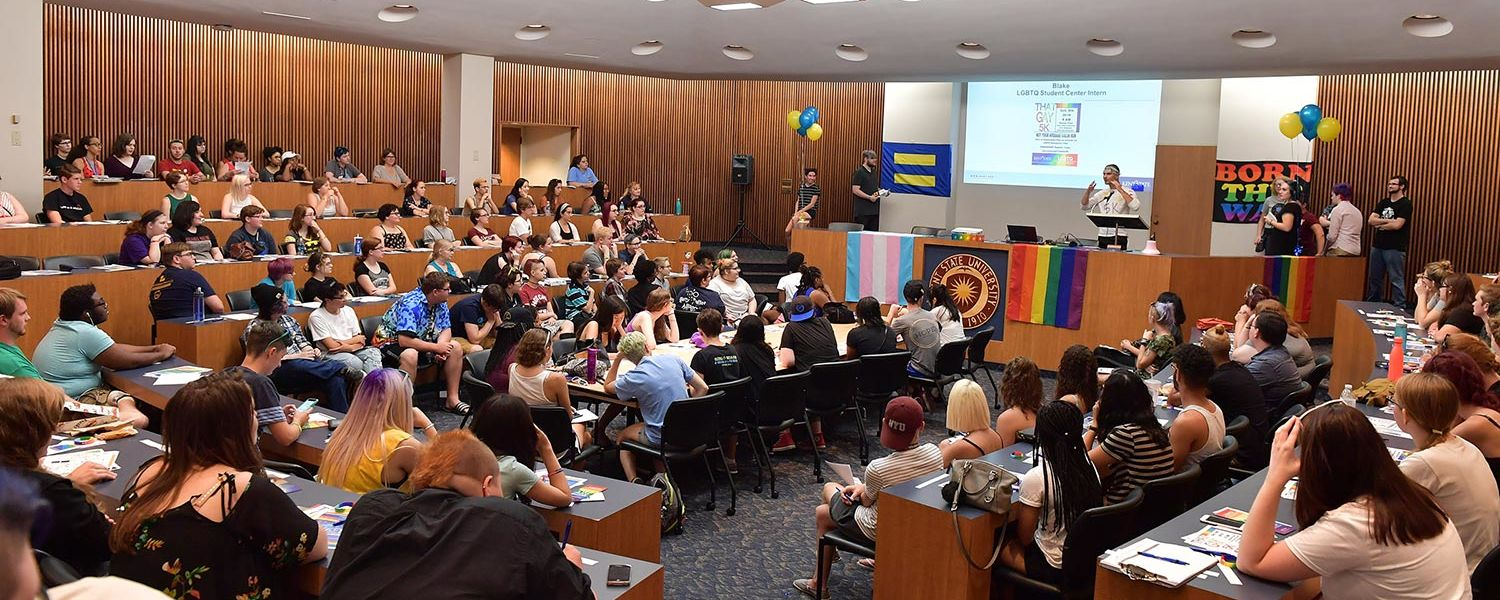 Members of Kent State's Lesbian, Gay, Bisexual, Transgender and Queer community gather at a welcome reception held in the Governance Chambers.