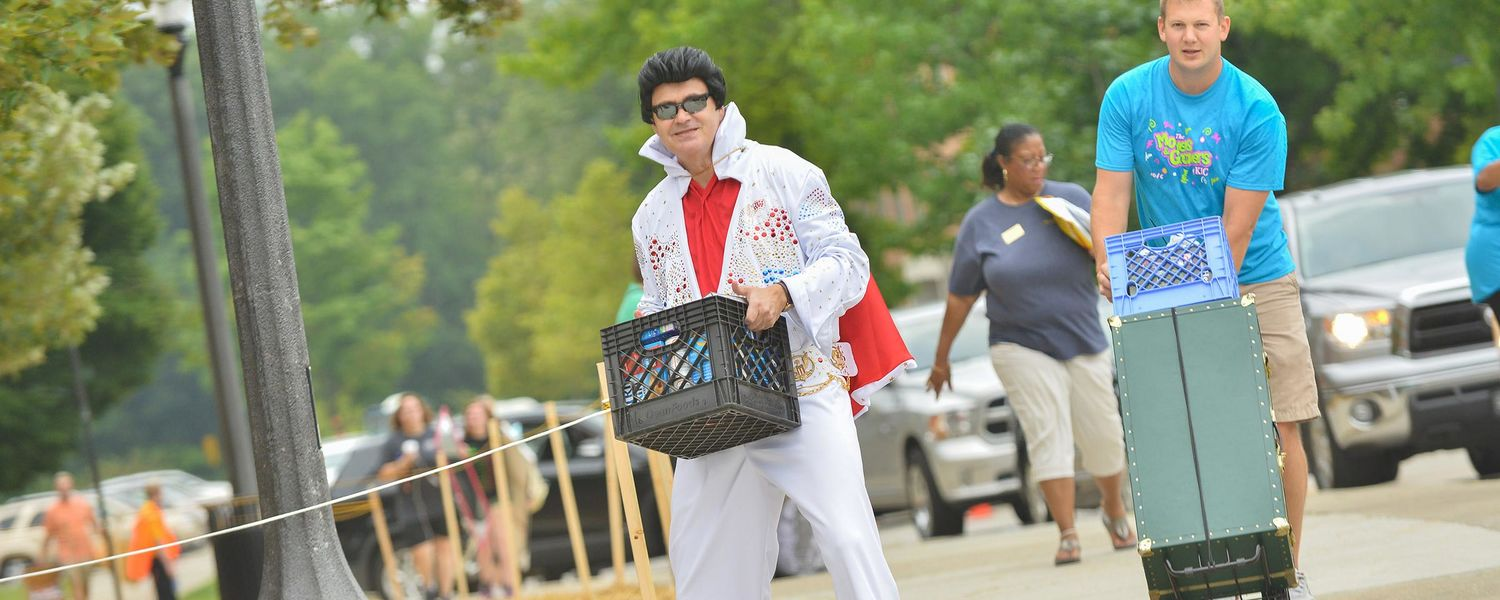 Kent State Senior Vice President for Academic Affairs and Provost Todd Diacon makes a return appearance as Elvis and helps new students on move-in day.
