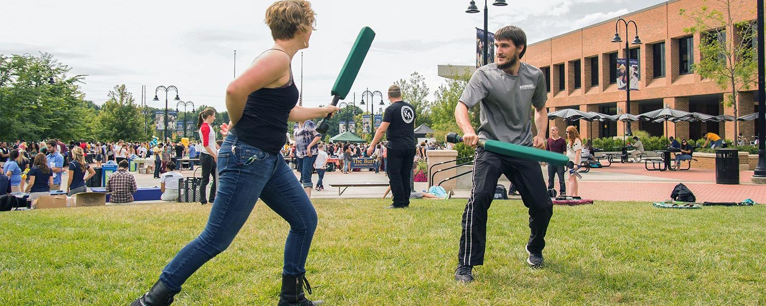 The Black Squirrel Festival offers students a chance to learn about various student organizations, like the Kent State Foam Fighting Society.