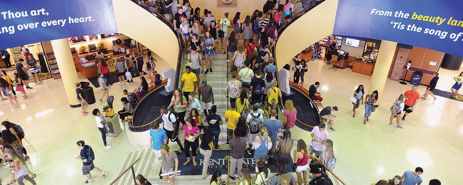 Kent State University freshmen walk through the Kent Student Center during 2016 Welcome Weekend. Kent State continues to set records as it begins a new academic year. The university marks the 10th consecutive year of enrollment growth on the Kent Campus.