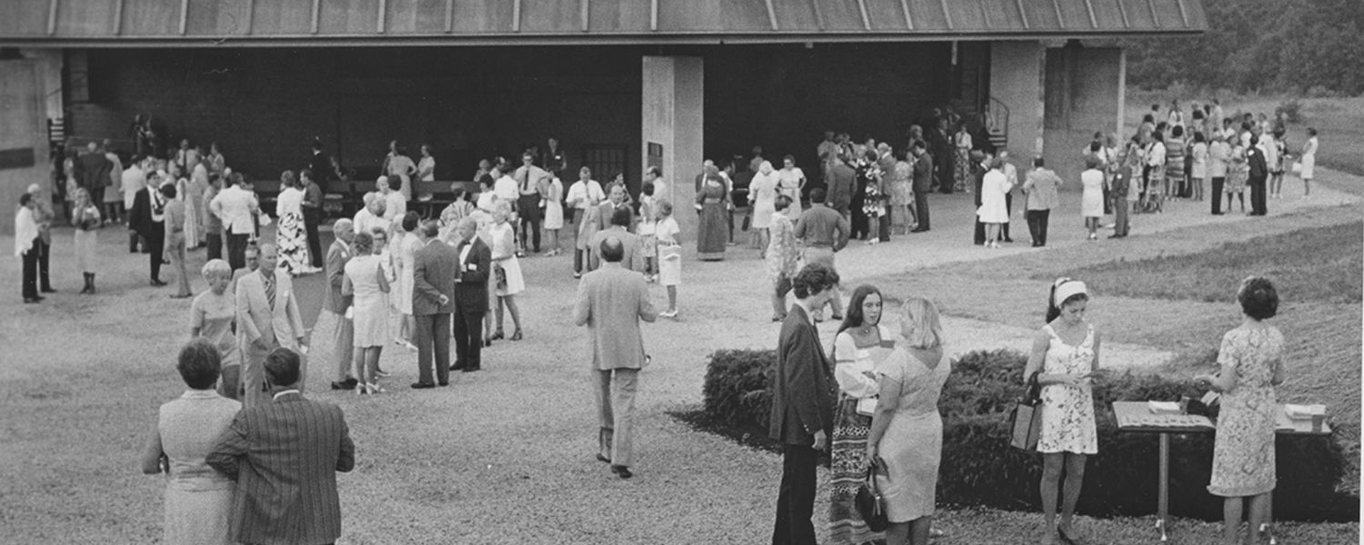 Patrons stand outside the Porthouse Theatre in the early 1970s.