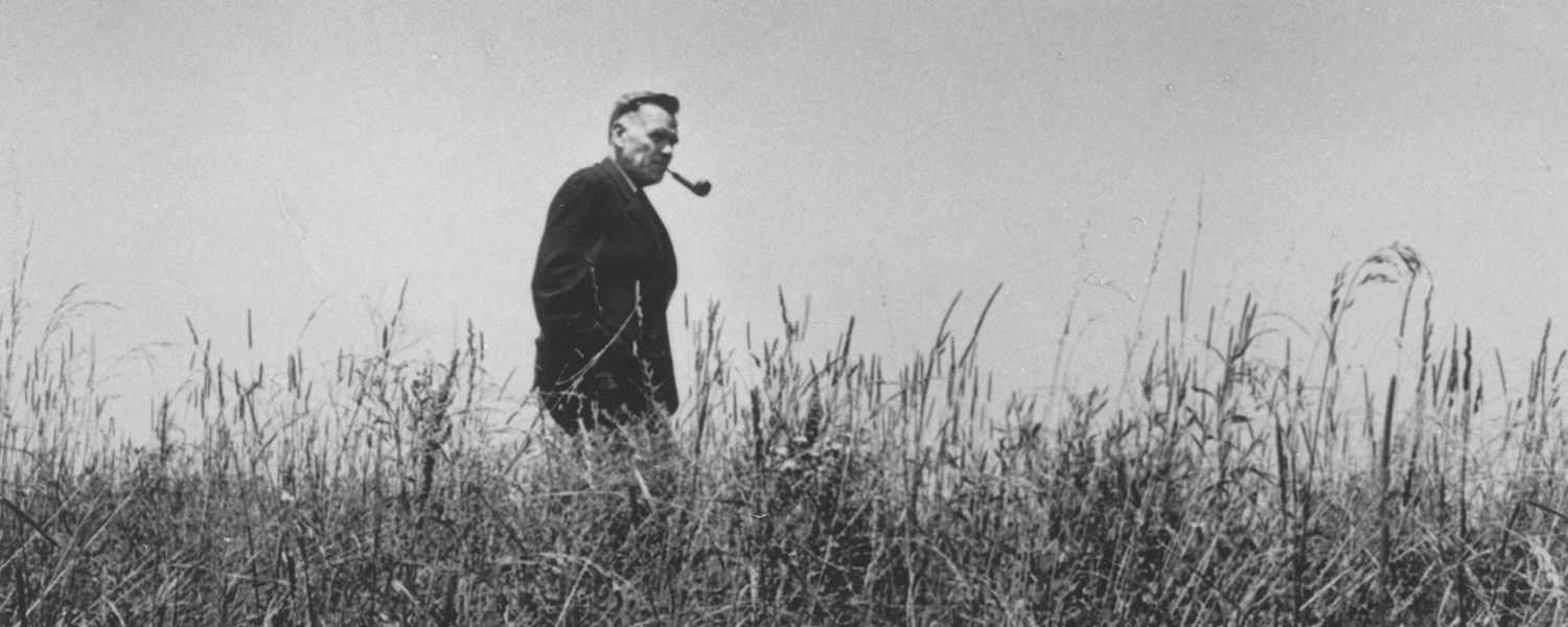 Then Kent State University President Robert White walks the future site of Porthouse Theatre in 1969.