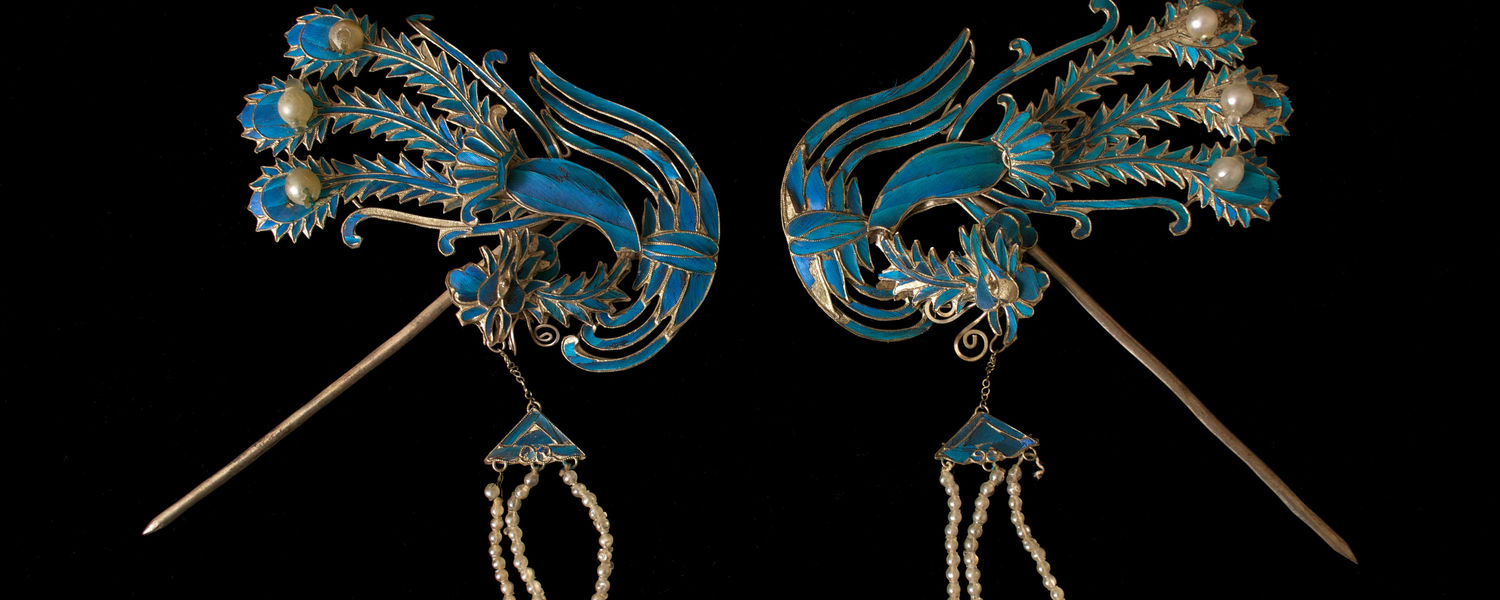Colorful Hair ornaments made of kingfisher feathers