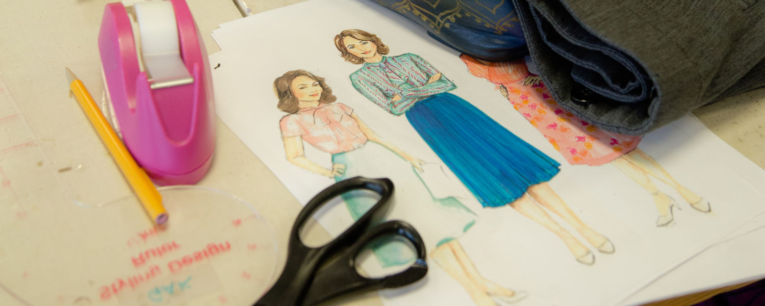 "A sketch of costumes designed by Kerry McCarthy, BA '13, MFA '16, for the production ""9 to 5."" In the play, three female coworkers craft a plan to get even with their sexist, egotistical boss."