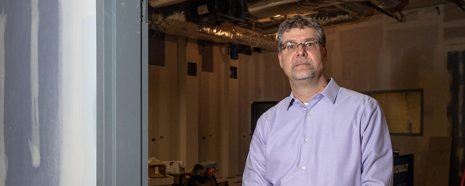 Torsten Hegmann, director of Kent State's Advanced Materials and Liquid Crystal Institute, shows the area in the basement of the Integrated Sciences Building where a new X-ray scattering machine will be installed in 2021.
