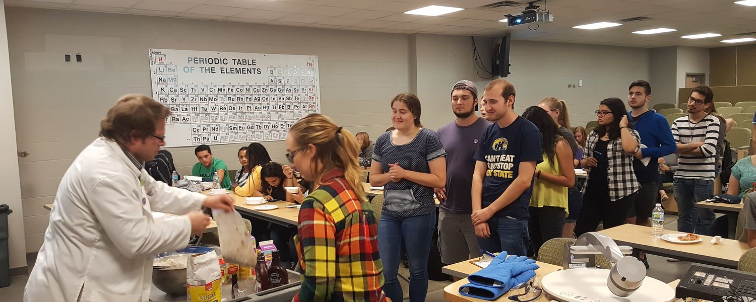 Students get in line for liquid nitrogen ice cream at the first SAACS meeting of the year