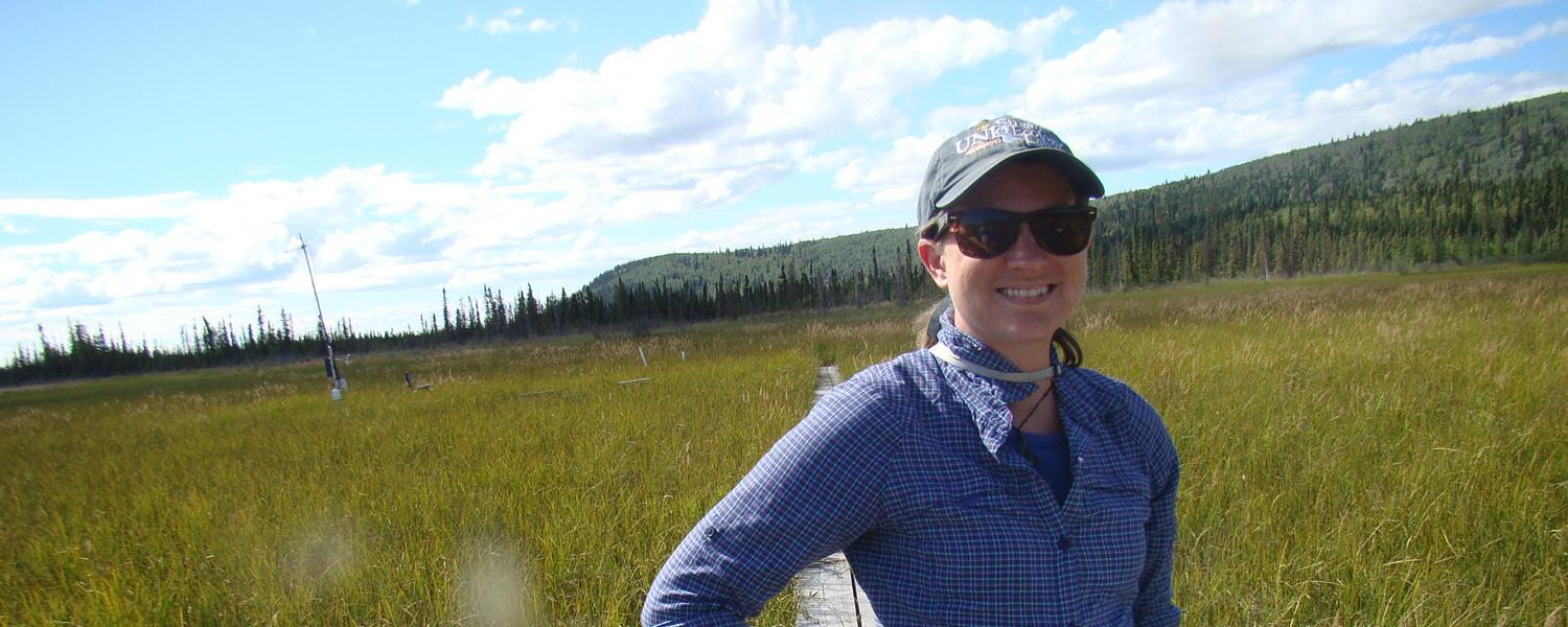 Dr. Lauren Kinsman-Costello, Assistant Professor in the Biological Sciences Department, studies nutrient cycling in Ohio wetlands and arctic peatlands.