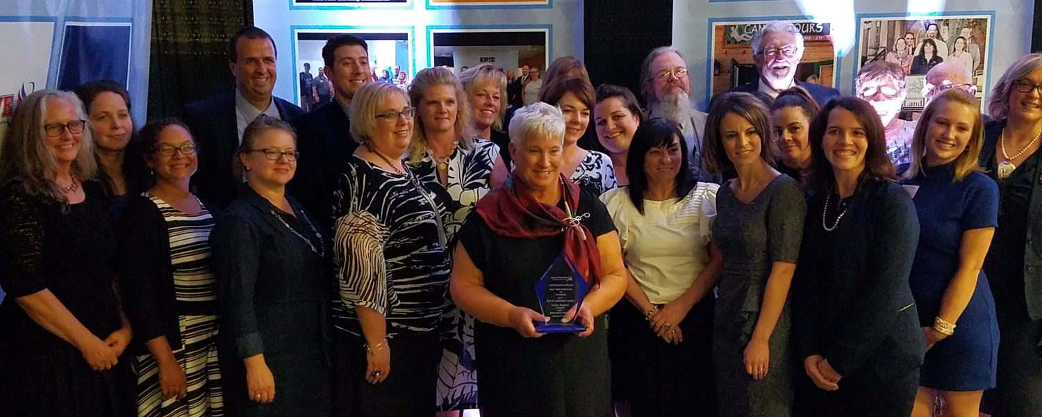 Dean Stocker and members of the faculty and staff at Kent State Ashtabula accept the 2017 Best of Ashtabula County Service Business Growth and Innovation Award (Sept. 19, 2017)