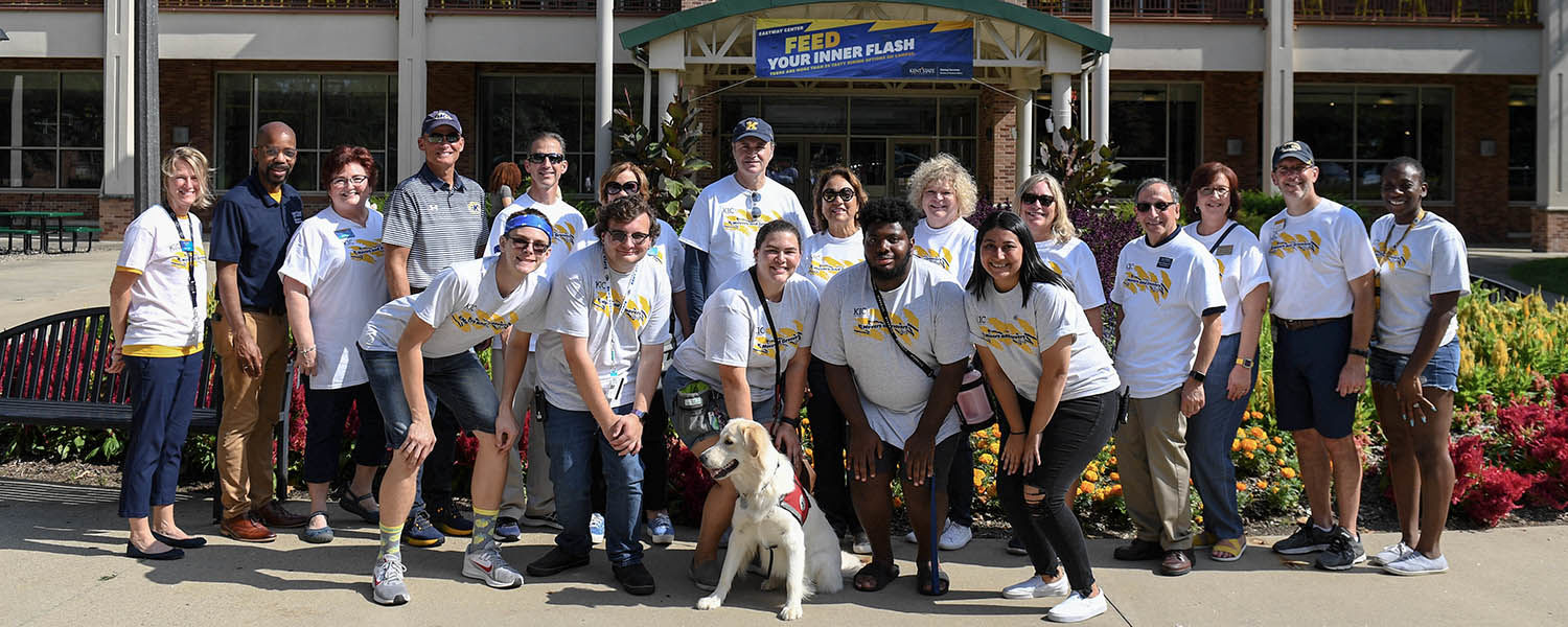 President Todd Diacon and his wife, former Kent State art professor Moema Furtado, seen here with administration, staff and student volunteers on move-in day.