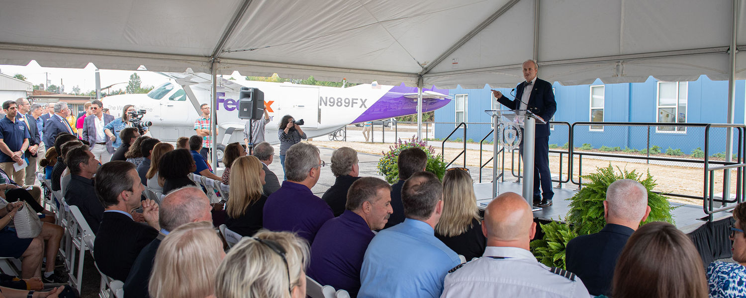Kent State President Todd Diacon gives remarks during the grand opening celebration of the FedEx Aeronautics Academic Center.