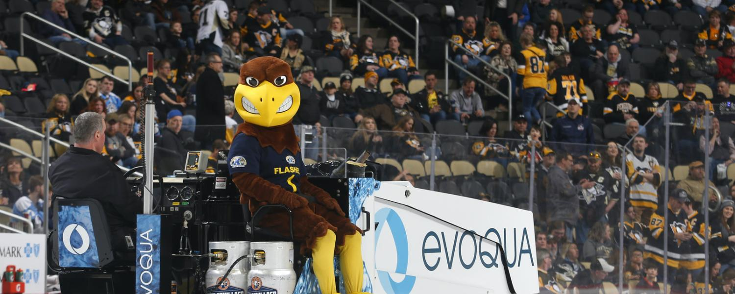 Kent State's Flash riding the Zamboni at PPG Paints Arena in Pittsburgh