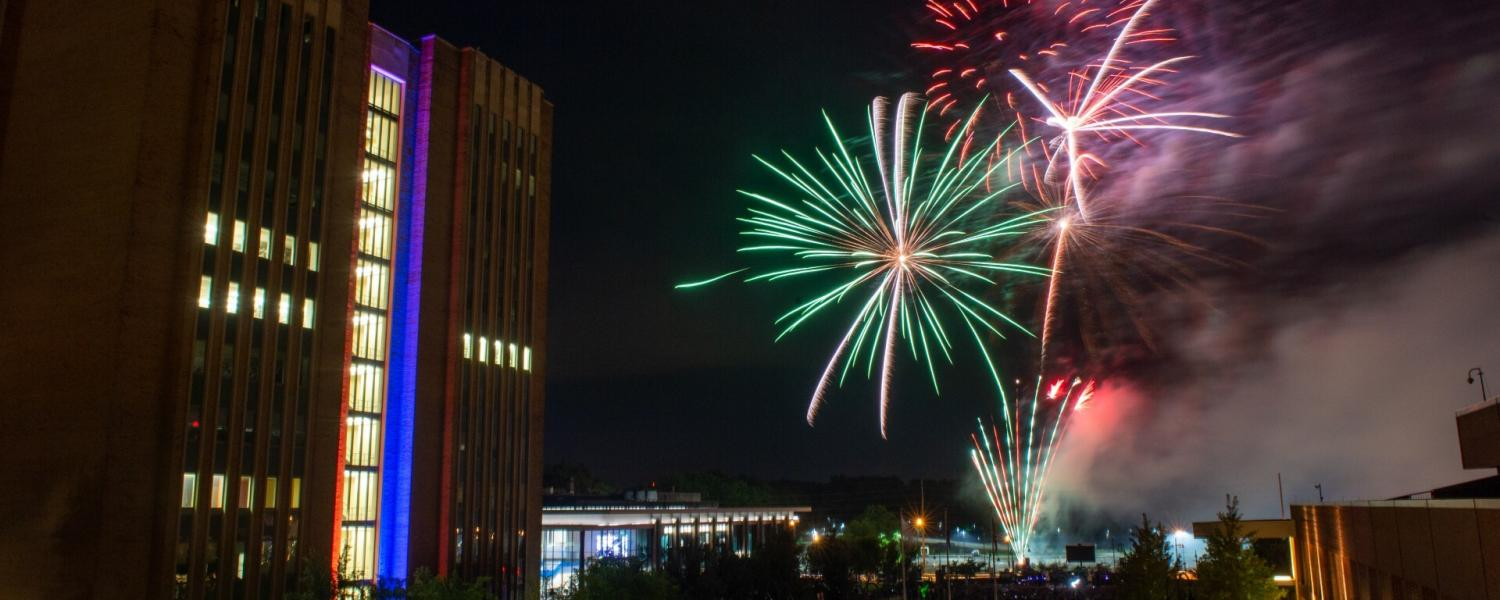 Fireworks go off by student green to celebrate BlastOff