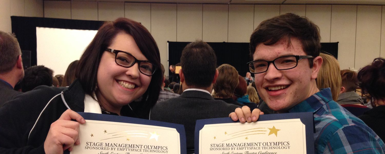 Students Hannah Graham and Cullen Motak at the SETC award ceremony