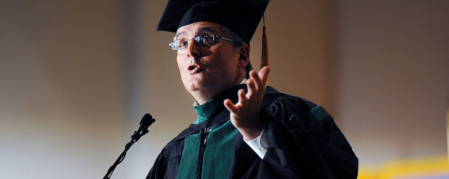 Commencement speaker Dr. John Guiliana addresses the 2013 graduating class of Kent State's College of Podiatric Medicine