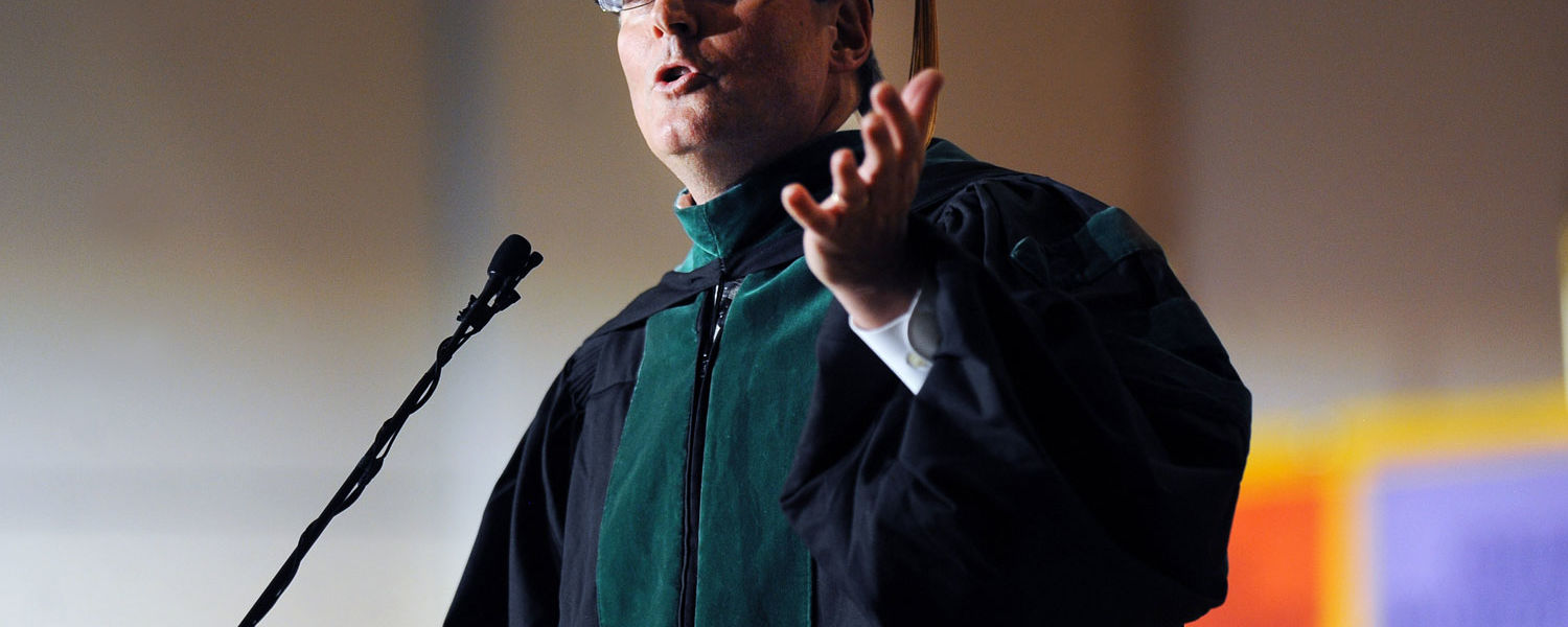 Commencement speaker Dr. John Guiliana addresses the 2013 graduating class of Kent State's College of Podiatric Medicine.