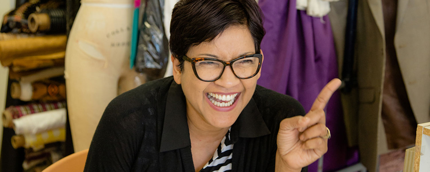 Suwatana Rockland, a first-year MFA candidate in the School of Theatre and Dance who also teaches Thai classical movement at Kent State, jokes with her co-workers. Originally from Thailand, her pad thai was a hit at the Costume Shop's potluck.