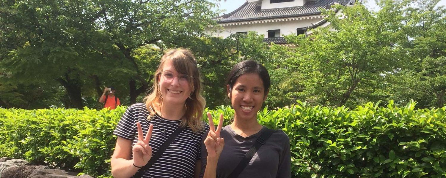 Kristen and Mita at Inuyama Castle