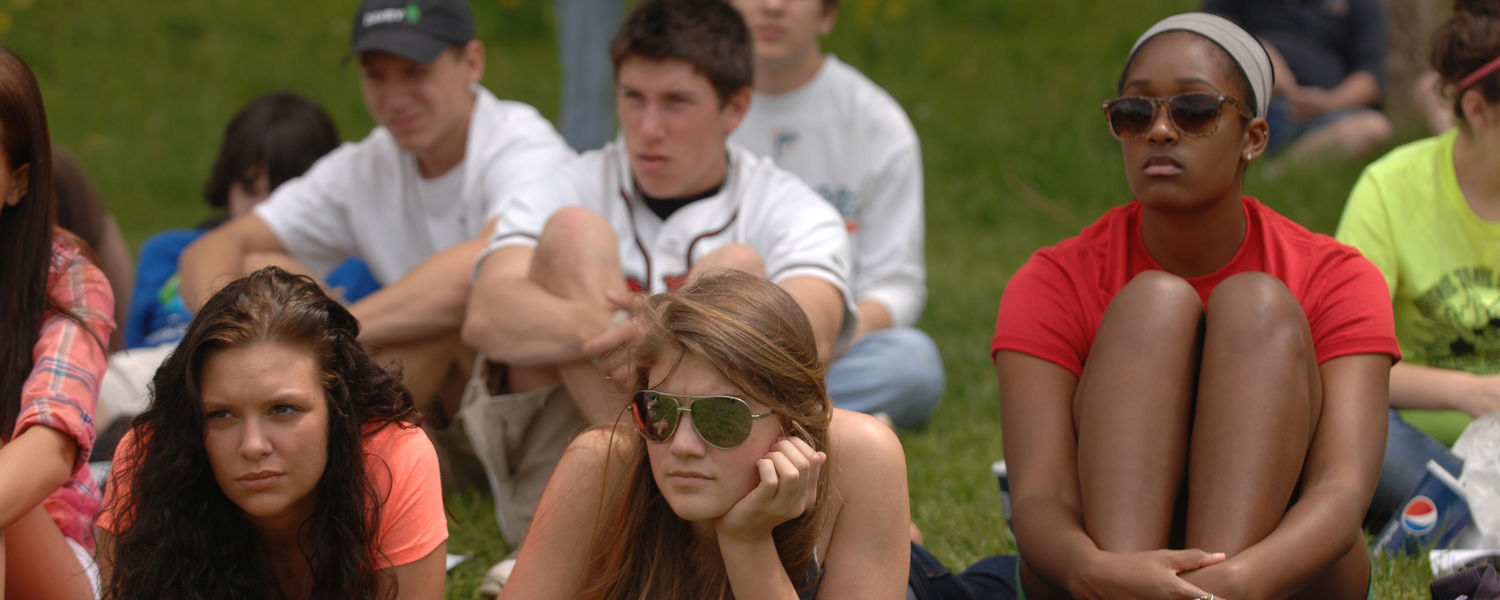 Students from Kent-Roosevelt High School listen to speakers during the 42nd annual May 4 commemoration at Kent State.