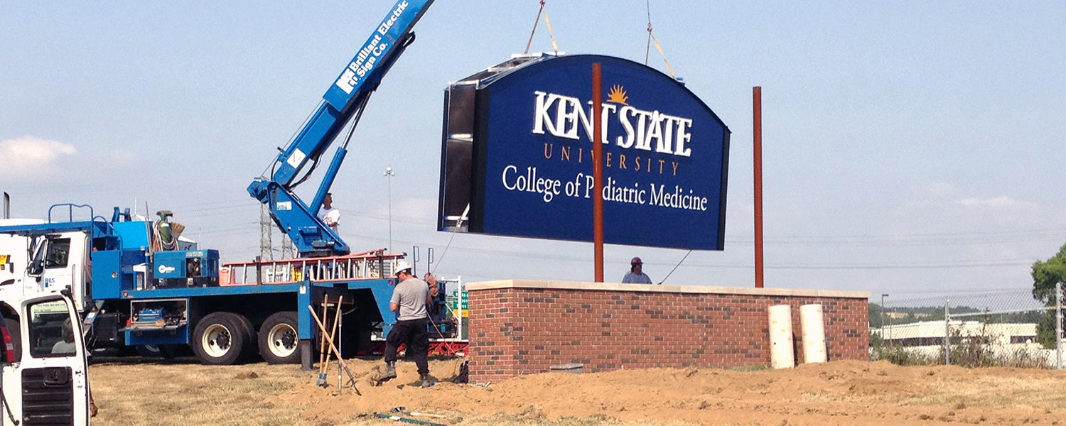 The recent installation of Kent State signs signify the formal establishment of the Kent State University College of Podiatric Medicine.