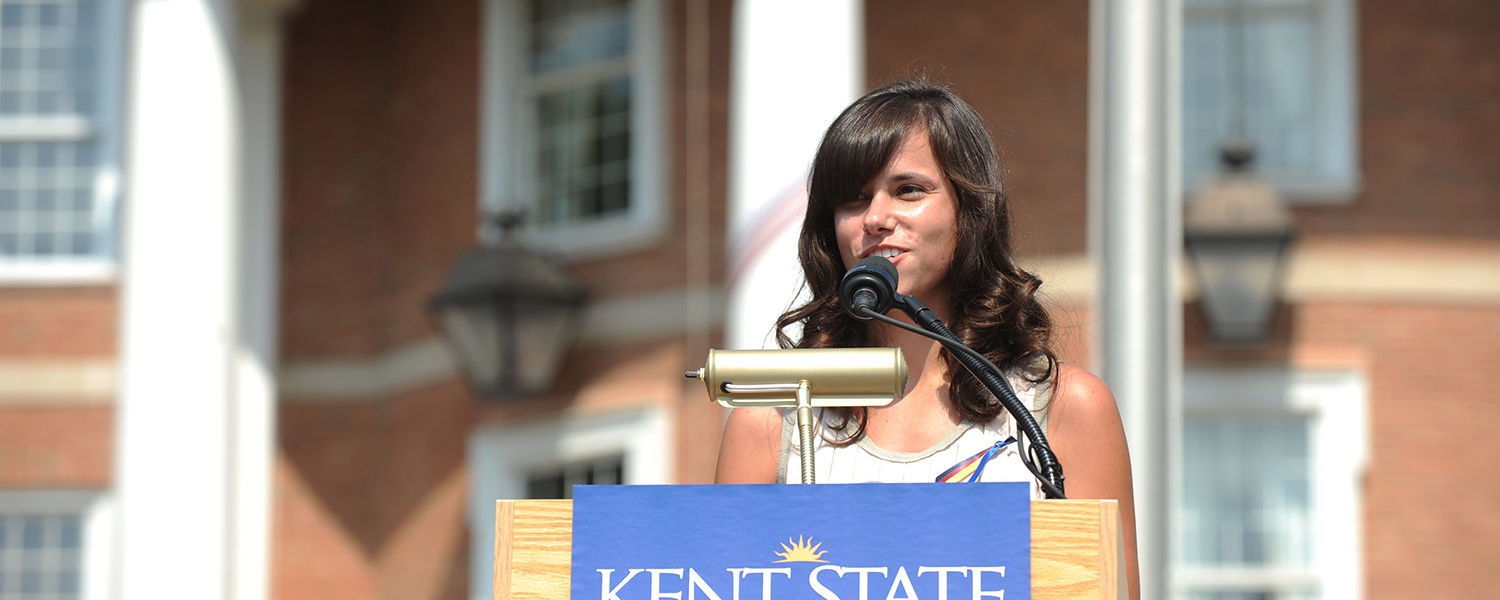 Amy Miceli, a student in the College of Podiatric Medicine and President of the Ohio Podiatric Medical Students Association, speaks during the ribbon-tying event held at the Kent State University College of Podiatric Medicine.