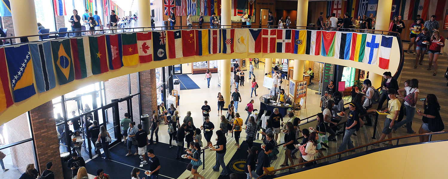 The lobby of the Student Center is packed with students during Welcome Weekend.