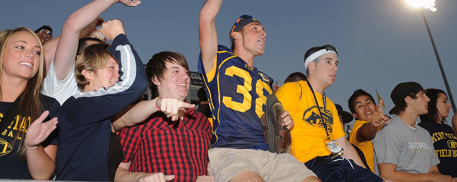 Kent State football fans cheer on the team during a home victory at Dix Stadium.