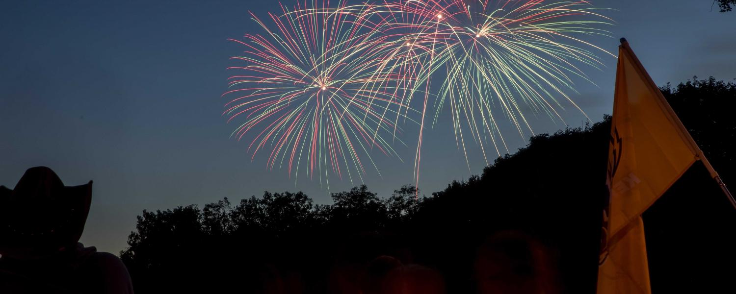 Fireworks fill the sky over Kent following the Homecoming Kickoff event to mark the start of Homecoming Weekend.