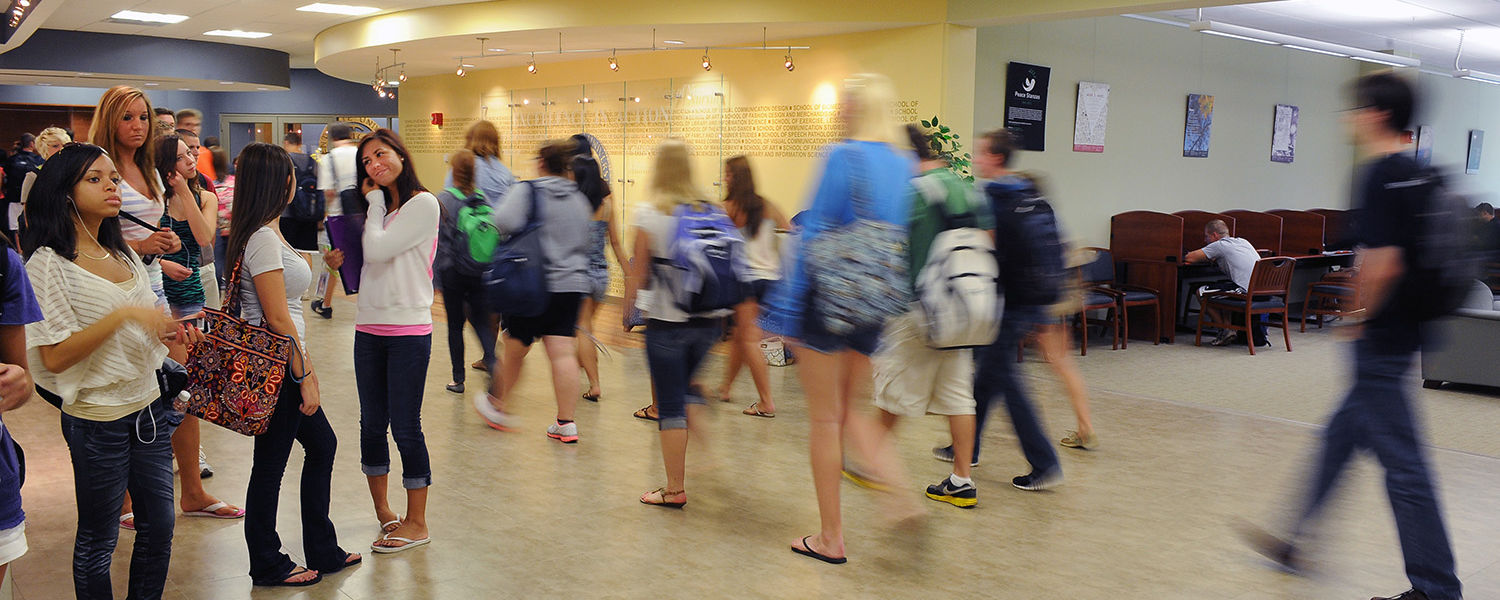 Kent State University students make their way to and from the Math Emporium, located on the second floor of the library.